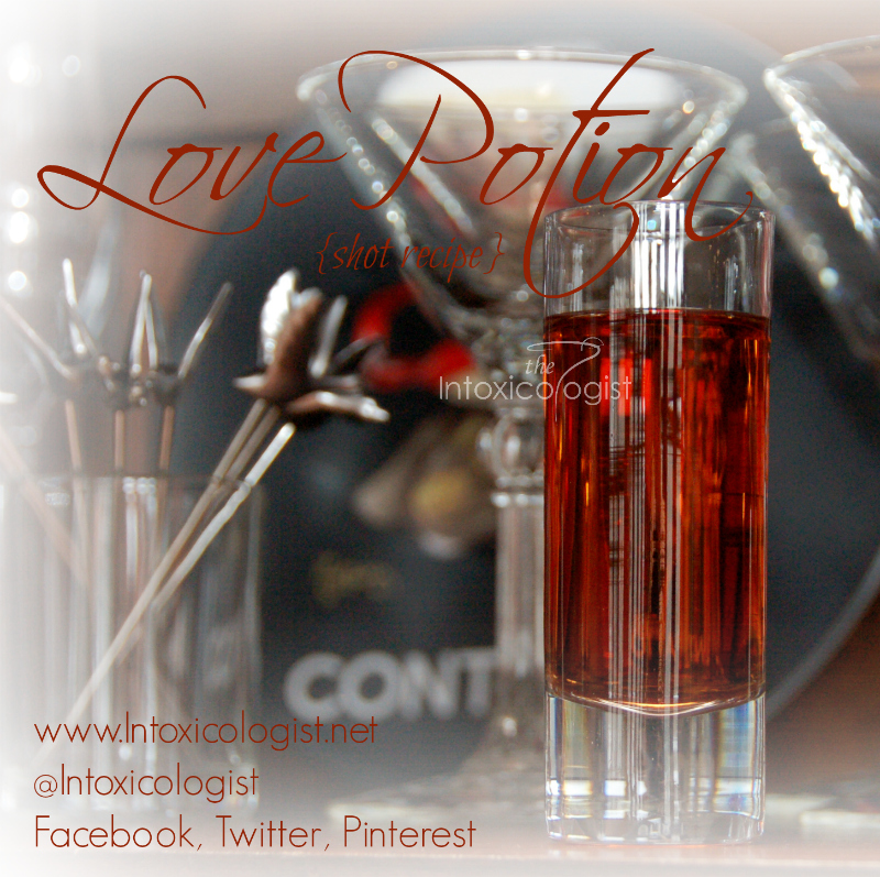 Love Potion is a little shot of love in a glass. Three simple ingredients, a shake, pour and you're all set for an evening of fun.
