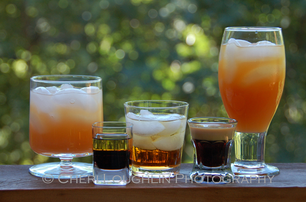 Easy two ingredient drink recipes include {left to right} the Greyhound long drink, Adios layered shot,  Godfather short drink, Baby Guinness layered shot, and Monkey Wrench long drink. – photo by Cheri Loughlin, The Intoxicologist