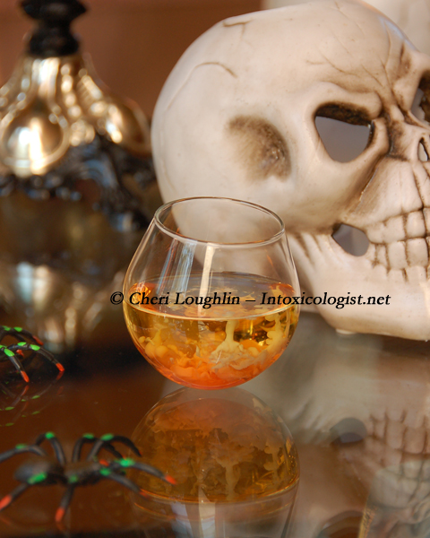 Bloodied Brains Halloween Shot {recipe and photo credit: Mixologist Cheri Loughlin, The Intoxicologist}