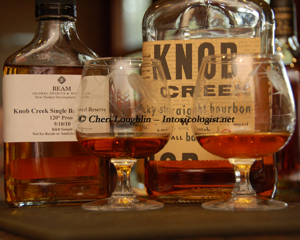 Knob Creek Single Barrel Reserve and Knob Creek Small Batch Compariso copyright Cheri Loughlin