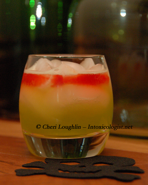 Shivering Sour Halloween Drink adapted from Midori Sour - photo property of Cheri Loughlin