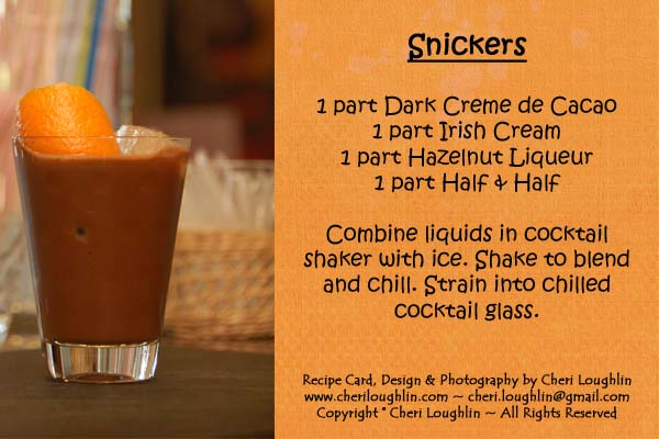 Snickers Candy Cocktail Recipe Card