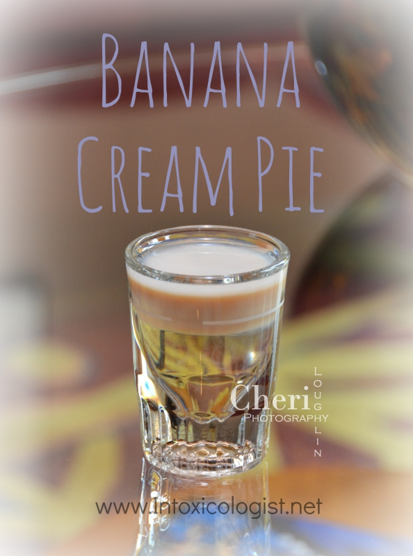 A layered Banana Cream Pie shot is perfect for National Banana Cream Pie Day. This dessert shot is served with little fuss, less mess and delicious results.