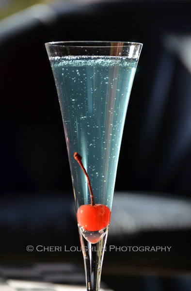 Lava Lamp blue drink appropriate for 4th of July celebrations - recipe and photo by Mixologist Cheri Loughlin, The Intoxicologist