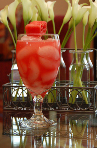 Summer Scorcher uses tequila infused with chili pepper or jalepeno pepper mixed with fresh watermelon juice. - recipe and photo by Mixologist Cheri Loughlin, The Intoxicologist