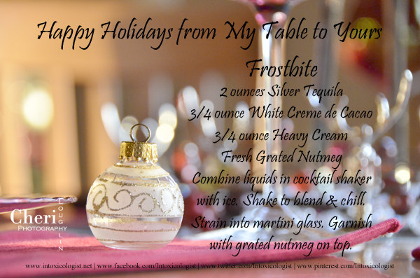 Happy Holidays Frostbite Cocktail and Recipe Card