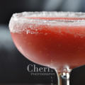 Easy Frozen Strawberry Margarita with sugared rim {recipe and photo credit: Mixologist Cheri Loughlin}