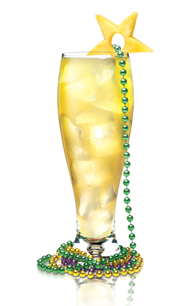 Beaded Lady Mardi Gras drink with SKYY Vodka, Gin, Triple Sec, Lime Juice, Bitters, Soda Water