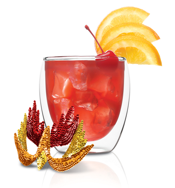 Red Rooster 1-1/2 ounce SKYY Infusions Raspberry 2 ounces Cranberry Juice 1/2 ounce Orange Juice Cherry and Orange Slice Garnish