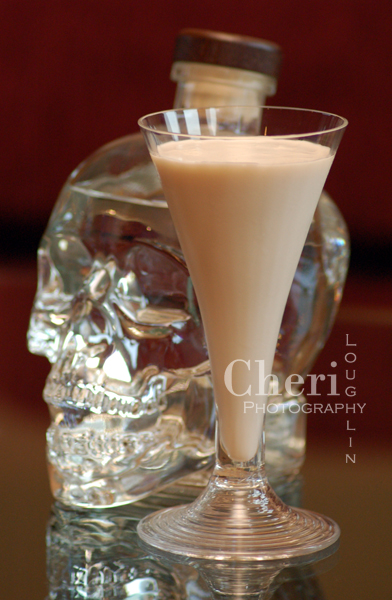 Skeletal Remains – recipe by Cheri Loughlin, The Intoxicologist 3/4 ounce Crystal Head Vodka 1/2 ounce Castries Peanut Rum Crème  1/2 ounce Godiva White Chocolate Liqueur 1 ounce Heavy Whipping Cream Combine ingredients in a cocktail shaker with ice. Shake vigorously to blend and chill.  Strain into a decorative cocktail glass.