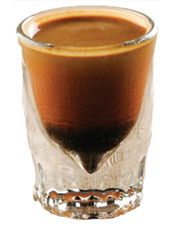 Tootsie Roll Shot 2/3 ounce Three Olives Chocolate Vodka 1/3 ounce Amaretto Drizzle of Chocolate Syrup