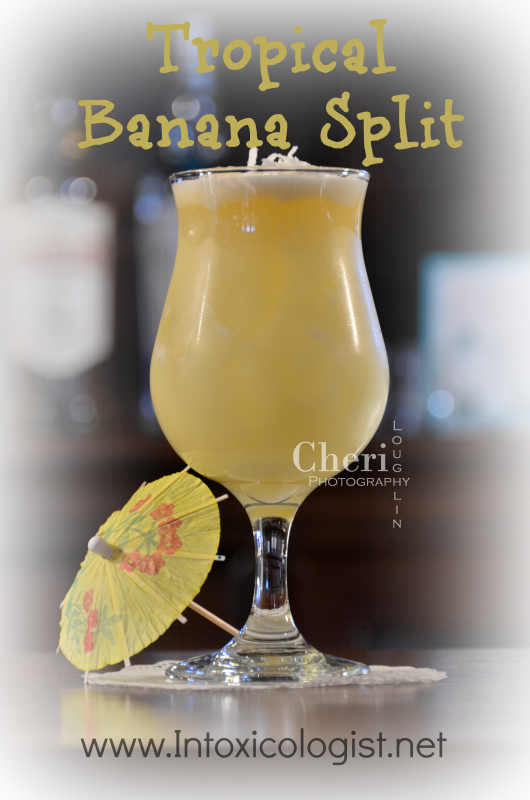 Tropical Banana Split: Rum, Banana, Chocolate, Pineapple, Coconut, Orange Juice - www.intoxicologist.net