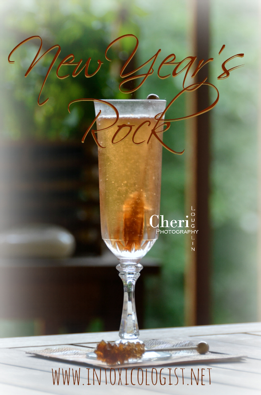 The whimsical rock candy skewer makes this New Year's Rock champagne cocktail a fun variation to the classic. Rock the night away!