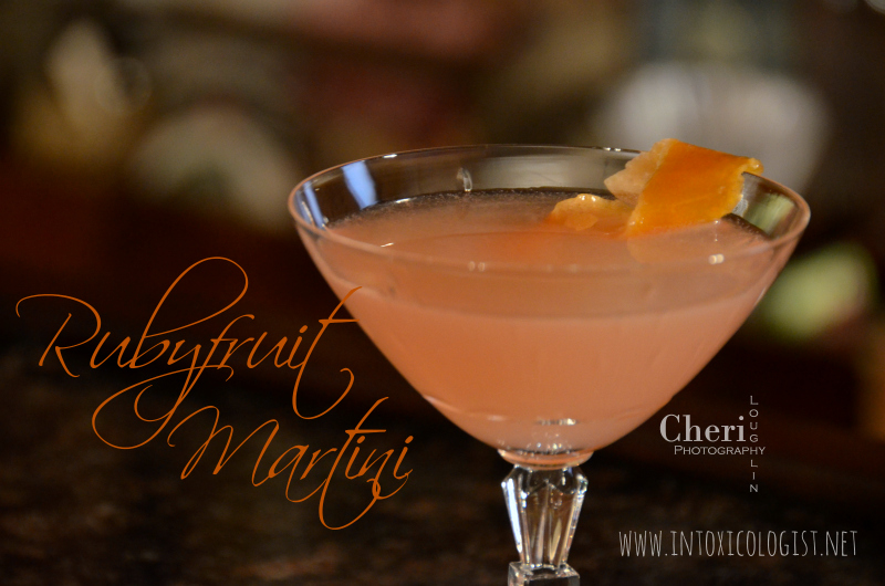 Rubyfruit Martini: Gin, Ruby Red Grapefruit Juice, Candied Grapefruit Syrup, Candied Grapefruit Peel