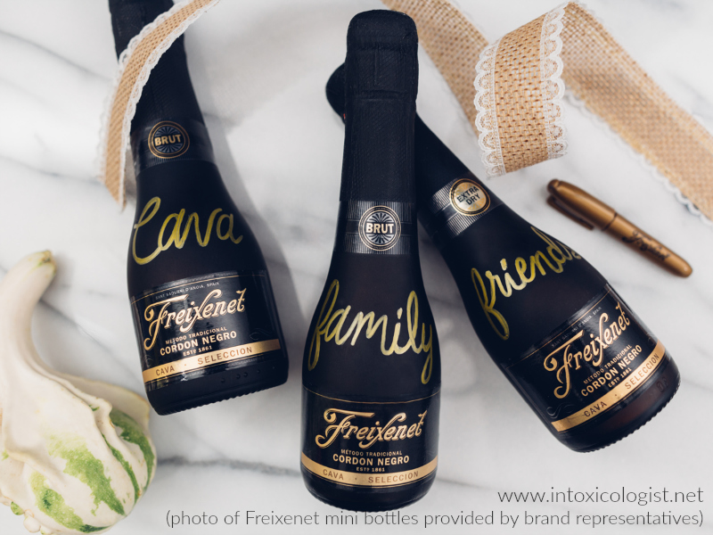 """Freixenet pronounced (fresh-eh-net) also referred to as the """"black bottle bubbly"""" is cava from Barcelona with crisp, medium size bubbles and creamy texture. It also comes in minis. Photo courtesy of brand representatives."""