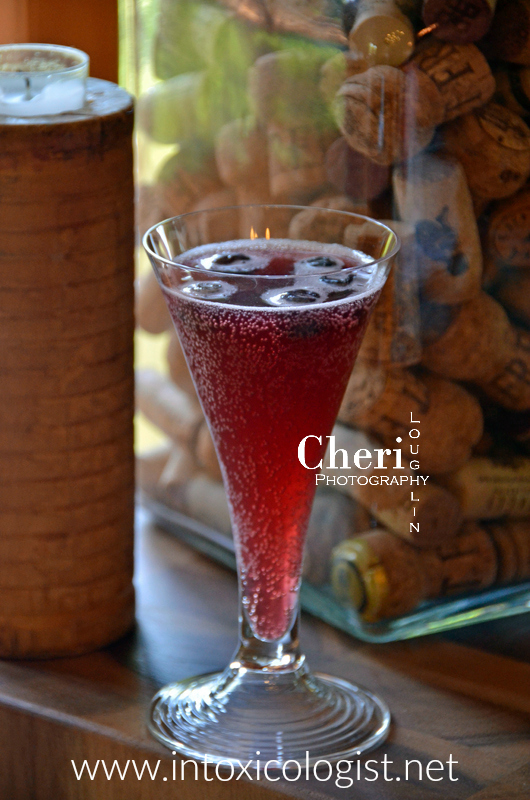 Goodnight Kiss is fruity, lush and full of berry flavors. Frozen blueberries keep the drink chilled while sipping and adds an extra shade of purple to the drink. Sparkling cava or brut bubbly could be used rather than prosecco