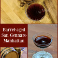 Barrel-aged San Gennaro Manhattan brings out the bittersweet notes of Amaro and Campari, giving this cocktail a decadent and completely satisfying flavor.