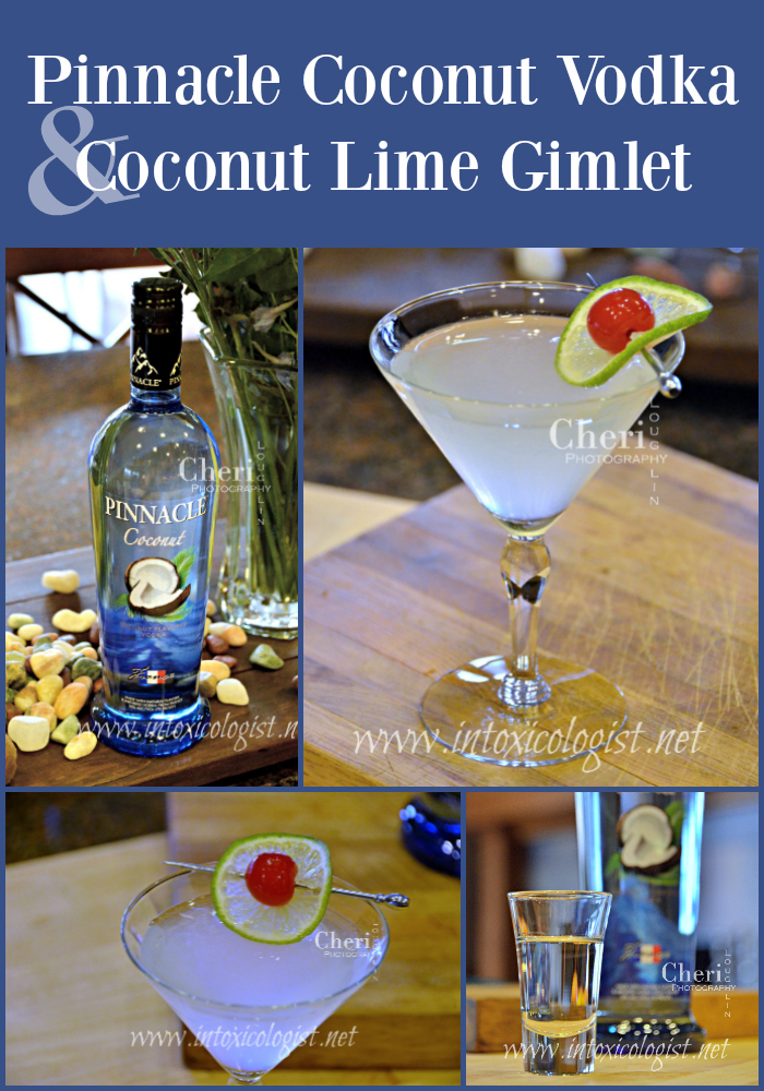 Coconut Lime Gimlet with Pinnacle Coconut Vodka balances sweet and tart nicely with light coconut flavor. Fresh lime wheel garnish enhances the aroma.