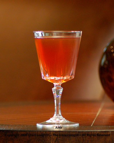 Ante cocktail. Perfect for poker night. Uses brandy, calvados and Dubonnet {photo credit: Mixologist Cheri Loughlin, The Intoxicologist}