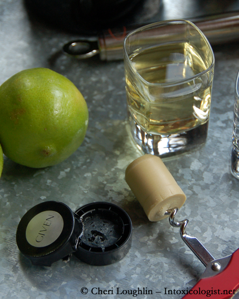 GIVEN Lime Infused Tequila Liqueur Cork Broken from Lid - photo property of Cheri Loughlin - The Intoxicologist