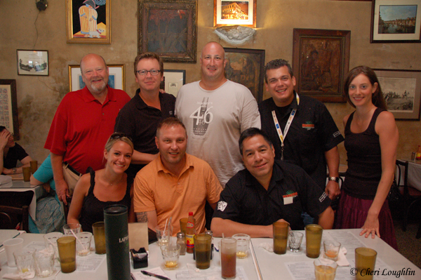 Beam Global at Napolean House - Top row from left to right: Fred Noe, Jim Beam family distiller; Simon Brooking, Laphroaig brand ambassador; Matt Purpura, Beam Global brand educator; Philip Raimondo, Beam Global Master Mixologist; Mimi Jonas, Canadian Club - Bottom row from left to right: Katie Lundstrom, Jim Beam; Bernie Lubbers, Whiskey Professor; Armando Zapata, Beam Global's National Tequila Ambassador