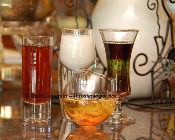 Four Halloween Shots {photo credit: Mixologist Cheri Loughlin, The Intoxicologist}
