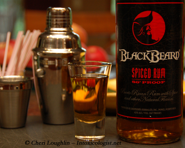 Black Beard Spiced Rum tasted Neat for review purposes - photo property of Cheri Loughlin - The Intoxicologist