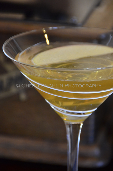 Barefoot in Dublin 023 tweaks the Appletini with Irish whiskey and Moscato wine for a beautifully lush, lightly sweetened fall cocktail. - photo and recipe by Mixologist Cheri Loughlin, The Intoxicologist