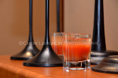 The Blood Shot can be layered or mixed according to preference. Great for Halloween or perfect as a miniature Bloody Mary taster for Sunday Brunch. - photo and recipe by Mixologist Cheri Loughlin, The Intoxicologist