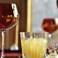 The Gin Punch recipe is excellent for holiday parties. It can be made a day in advance and served over decorative ice in rocks glasses for elegant presentation. - photo by Cheri Loughlin, The Intoxicologist