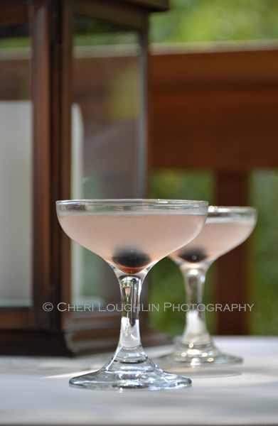 Aviation Cocktail - Aviation No. 2 uses Gin, lemon juice, maraschino liqueur, creme de violette and is served in a martini glass. - photo by Mixologist Cheri Loughlin