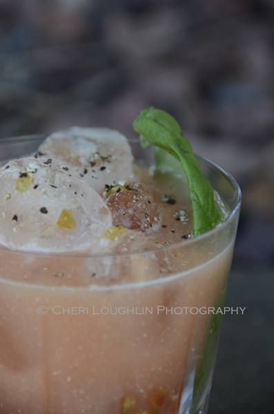 Blood Money was created specifically for Shellback Rum using seasonings of ginger and basil. photo and recipe by Mixologist Cheri Loughlin, The Intoxicologist