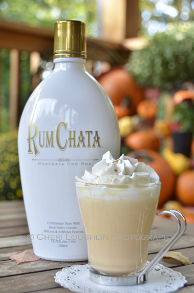 Pumpkin Pie White Hot Chocolate uses Rum Chata with 13.75% alcohol by volume in the recipe. Make a non-alcoholic version for the kiddos by skipping the Rum Chata. Use 1/4 cup white chocolate chips instead of 1/3 cup, add 1/8 to 1/4 teaspoon Pumpkin Pie Spice according to taste and an additional 1 ounce Half & Half to the recipe. {recipe and photo credit: Mixologist Cheri Loughlin, The Intoxicologist. www.intoxicologist.net}