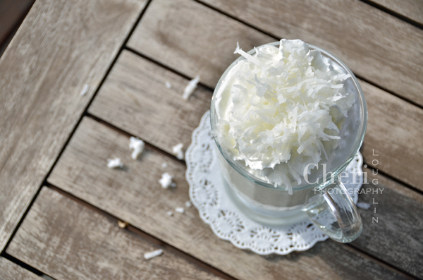Coconut Cream Pie Hot Drink - Sprinkle lots of sweetened shredded coconut on top of the whipped cream. {recipe and photo credit: Mixologist Cheri Loughlin, The Intoxicologist www.intoxicologist.net}