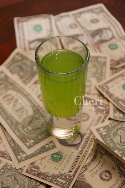 """Dollar Bill Shot from the Fun and sexy cocktail collection inspired by """"The Stripper"""" tune by David Rose"""