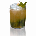 Louisiana Jam 1-1/2 ounce Southern Comfort 3/4 ounce Lemon Juice 3/4 ounce Apple Juice 2 teaspoons Apricot Jam 8 Mint Leaves 1/4 ounce Simple Syrup Lemon Wedge & Mint Sprig Garnish