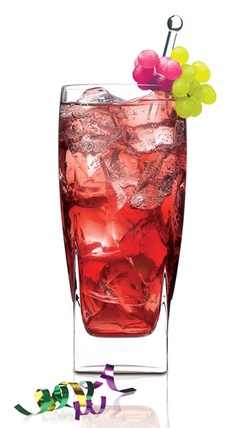 Mardi Grape  2 ounces SKYY Infusions Grape 2 ounces Grapefruit Juice 2 ounces Grape Juice 1/2 ounce Club Soda Red and Green Grapes Garnish