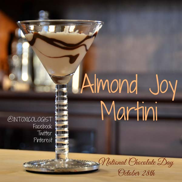 National Chocolate Day is the perfect time to indulge in candy bar cocktails. This Almond Joy Martini is a lighter flavored version of the real Almond Joy® candy bar with which this has no affiliation.