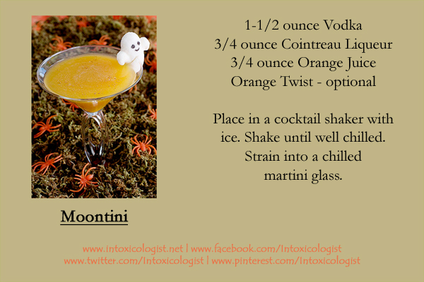 Moontini Recipe Card - photo and recipe provided by brand representatives. Recipe card created by Cheri Loughlin, The Intoxicologist LLC