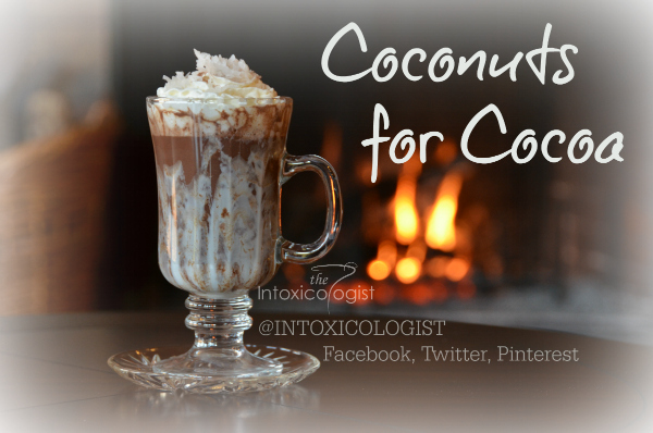 Coconuts for Cocoa has swirled marshmallow cream inside the glass. This brings lush creamy texture to the drink, giving it amazing dessert flavor quality. Dark rum and light coconut is reminiscent of vacation and relaxation. Think of it as a lightly flavored Mounds® candy bar.