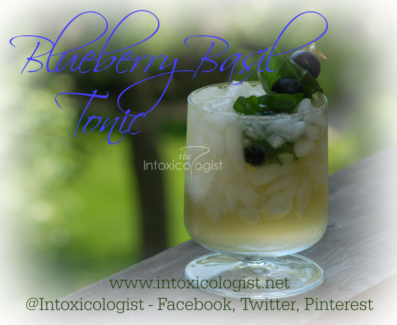 Blueberry Basil Tonic low calorie cocktail uses tequila, fresh basil and blueberries for fresh aroma and lightly sweetened full flavor. 124 to 157 calories.