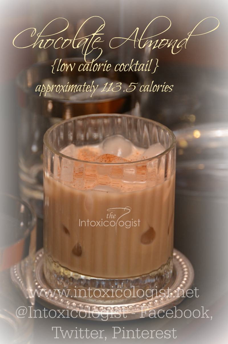 The Chocolate Almond low calorie cocktail has smooth nutty chocolate flavor with added warmth and hint of tequila spice for an estimated 113.5 calories.