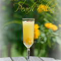 The Piece of Cake Peach Bellini can also be served in flute or cocktail glass instead of champagne flute. Peach fusion sparkling wine, cake vodka, OJ.
