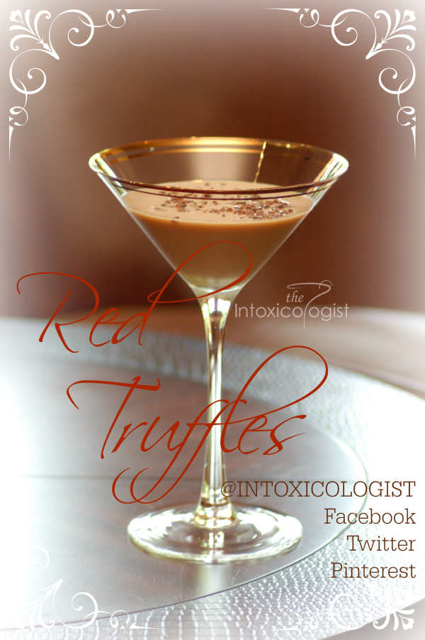 The Red Truffles dessert cocktail is a three ingredient, silky smooth drink with a bit of bourbon warmth. Cacao nibs add bittersweet crunchy texture. Delish