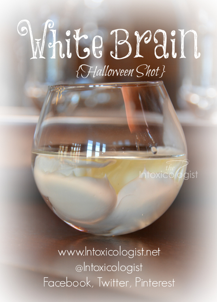 """Make this recipe Halloween worthy. Place tequila and schnapps in bottom of shot glass. Slowly drip heavy cream over top. It will look like a white """"brain"""" suspended in liquid."""