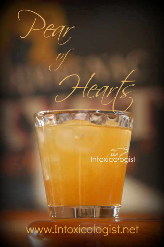 Pear of Hearts is a spicy, sweet drink with hint of lush fruit flavor. The spiced ginger gives nice fragrance to the drink. It's also yummy to nosh on as a little candied treat.
