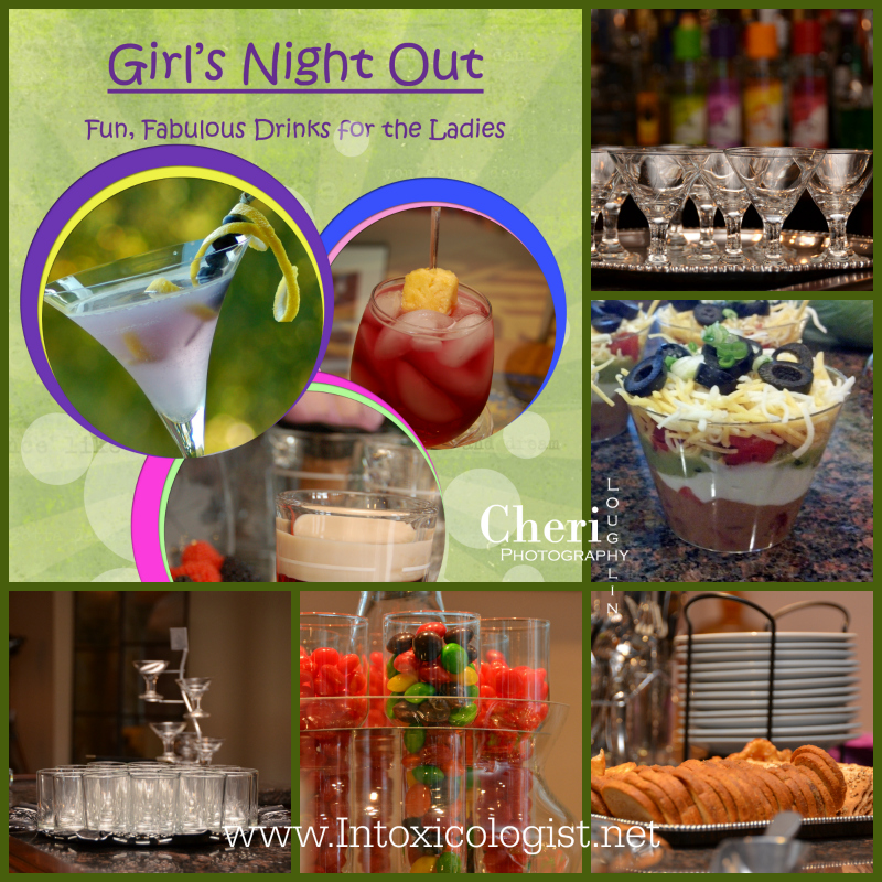 Girl's Night Out Food and Drink Pairing. Individual Seven Layer Dip recipe.