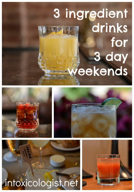 Enjoy your three day Labor Day weekend with simple, yet satisfying drinks. Each drink is 3 ingredients or less with optional garnish. Pour, stir, enjoy!