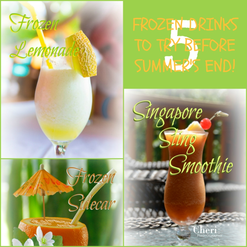 5 frozen drinks to try before summer's end - Frozen Lemonade, Bossa Nova, Singapore Sling Smoothie, Frozen Sidecar, Blue Lagoon Smoothie. www.intoxicologist.net