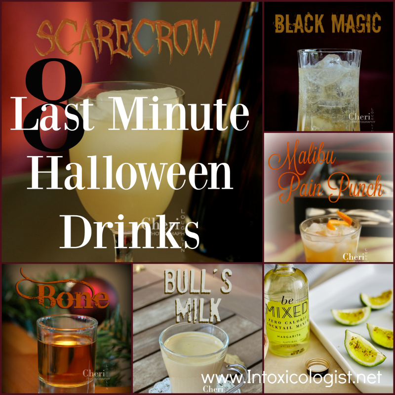 8 Last Minute Halloween Drinks: Scarecrow, Pain Punch, Bull's Milk, Bone, Black Magic, Green Goblin Jell-O Shots, Swamp Water and Witches Brew